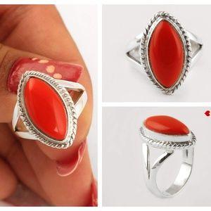 Vintage Sterling Silver & Coral Ring